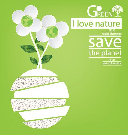 Flower design. Go green. Save world. vector illustration.