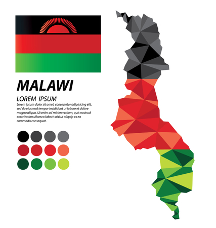 Republic of Malawi geometric concept design Illustration