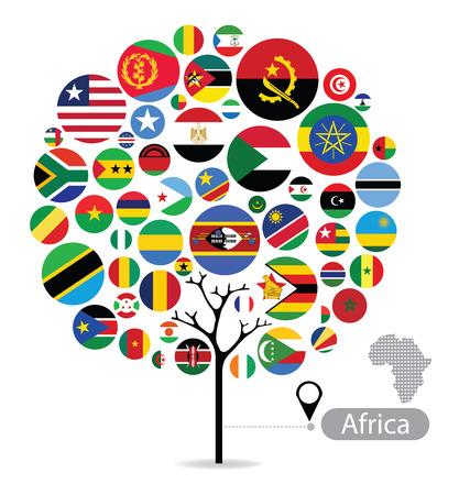 Tree design. Flag of Africa. vector Illustration.