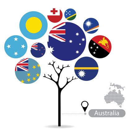 Tree design. Flag of Australia. vector Illustration.
