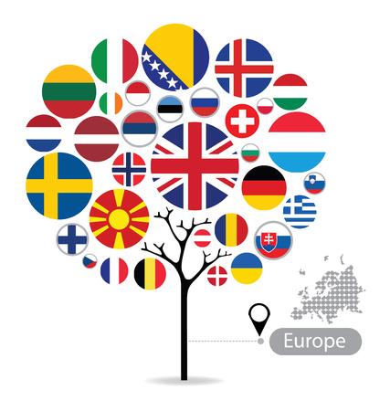Tree design. Flag of Europe. vector Illustration.