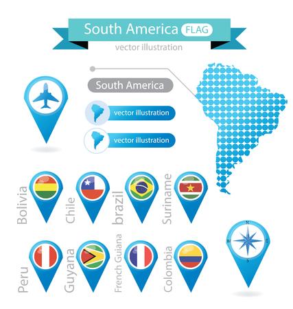 map bolivia: Sudamerica. indicador de indicador ilustración vectorial.