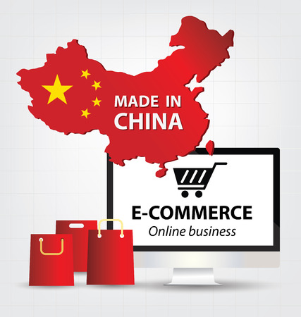 e commerce concept. Made in china. Business concept. Illustration