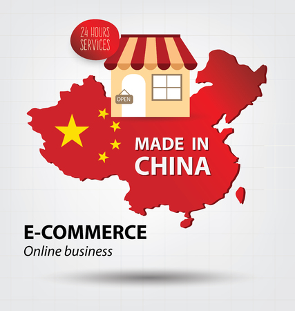 china business: E-commerce concept. Made in china. Business concept.