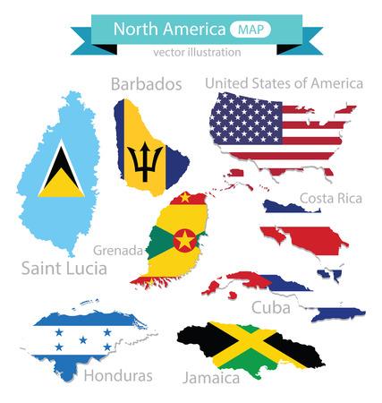 Map. Flag of North america. vector Illustration. Illustration