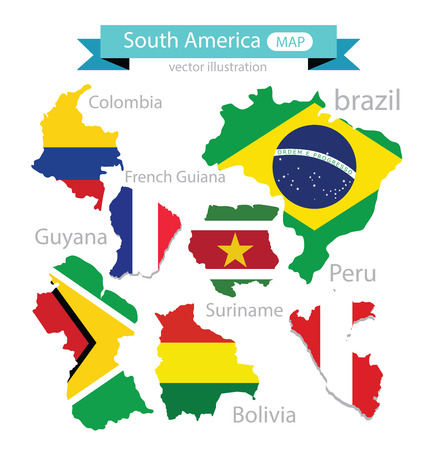 Map. Flag of South america. vector Illustration.
