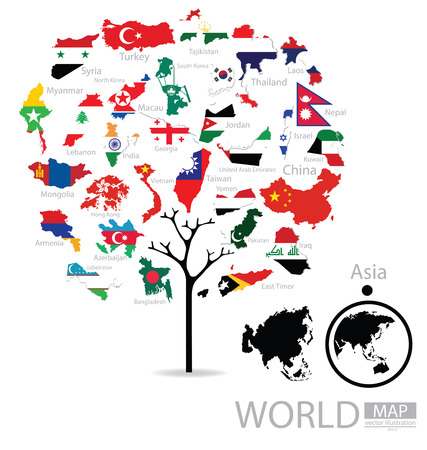 macau: Tree design. Map. Flag of Asia. vector Illustration.