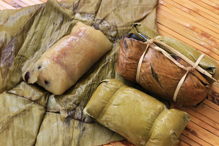 Traditional Thai food style, Thai dessert made from banana and glutinous rice, wrap with banana leaf (Khao Tom Mat or Khao Tom Pad)