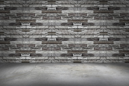 amaged: Bricks wall and concrete floor background