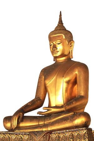 Golden Buddha statue isolated background. Wat Pho, Bangkok, Thailand
