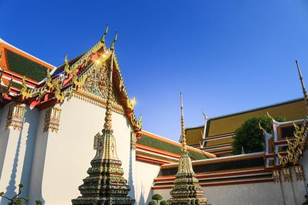 Thai art architecture in Wat Phra Chetuphon Vimolmangklararm (Wat Pho) temple, Bangkok Thailand