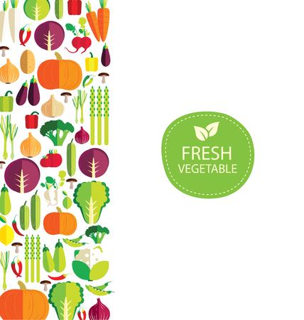 Vegetables on white background vector illustration.