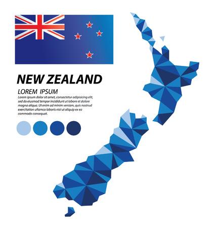 Geometrisch conceptontwerp van Nieuw-Zeeland Vector Illustratie