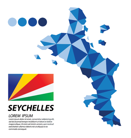 Republic of Seychelles geometric concept design illustration.