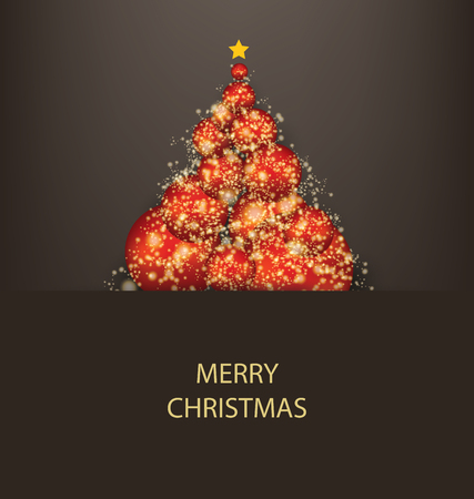Red and gold Christmas tree with star. Vector illustration.