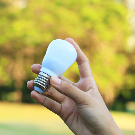 Energy saving concept. Hand holding light bulb on abstract nature background.