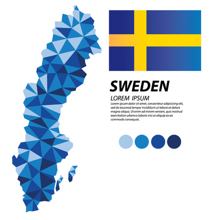 Kingdom of Sweden geometric concept design 矢量图像