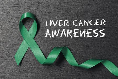 Emerald Green color ribbon. Liver cancer awareness.