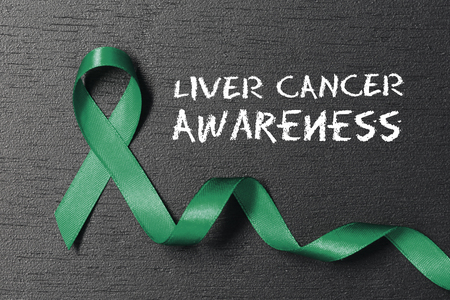 Emerald Green color ribbon. Liver cancer awareness.
