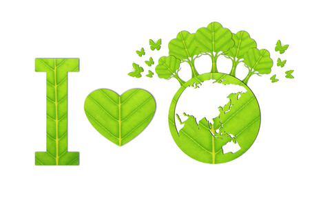Ecology concept made from green leaves. Standard-Bild