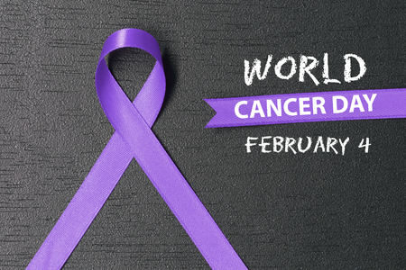 Lavender ribbon. World cancer day concept.