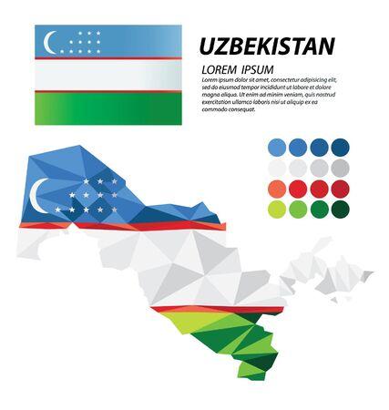Republic of Uzbekistan geometric concept design vector 일러스트