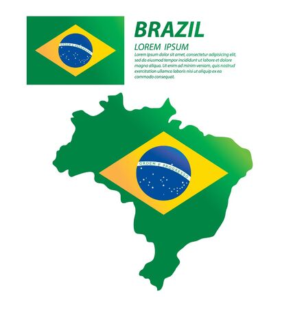 Brazil map and flag vector 일러스트