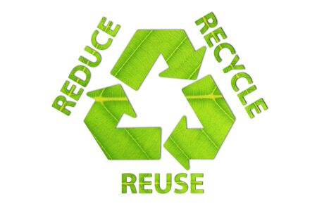 Reuse, Reduce, Recycle concept made from green leaf. Stok Fotoğraf