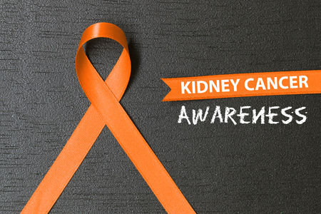 Orange ribbon. healthcare and medicine concept. Kidney cancer awareness.