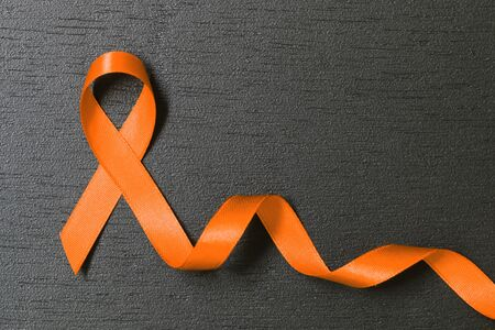 Orange ribbon. Multiple Sclerosis awareness. Leukemia awareness. Kidney cancer awareness.