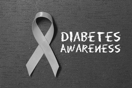Grey ribbon. Diabetes awareness. healthcare and medicine concept.