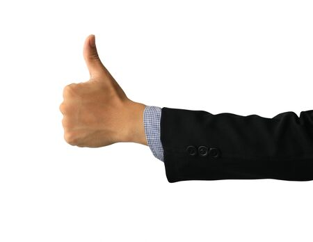 Businessman hand with thumb up isolated on white