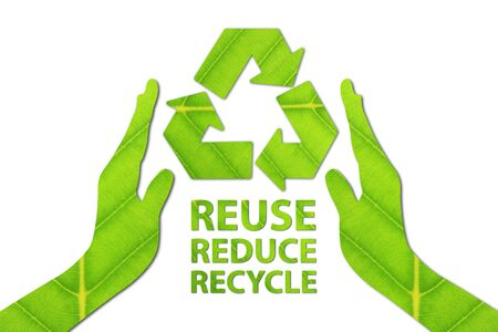 Reuse, Reduce, Recycle concept made from green leaf. Фото со стока