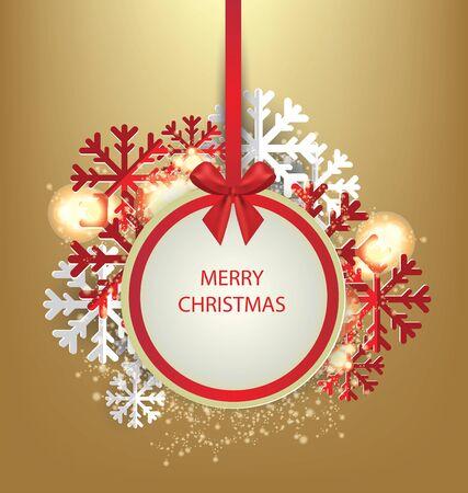 Christmas Greeting Card. Vector illustration. Standard-Bild - 129207407
