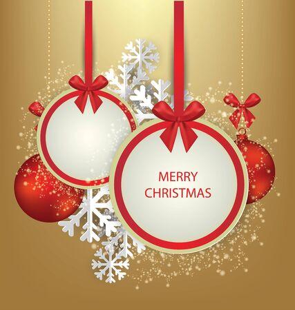 Christmas Greeting Card. Vector illustration. Standard-Bild - 129207434