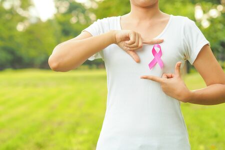 Healthcare and medicine concept. pink breast cancer awareness ribbon.