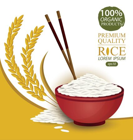 Rice Bowl and chopstick. Vector illustration. 일러스트