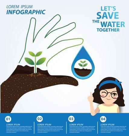 Ahorre el concepto de agua. Plantilla de infografía. Ilustración vectorial.