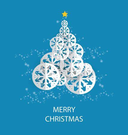 Christmas tree. Vector illustration. Standard-Bild - 129207341