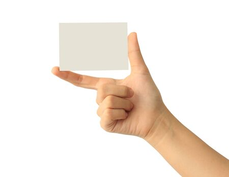 Woman hand holding blank paper business card isolated on white background Фото со стока