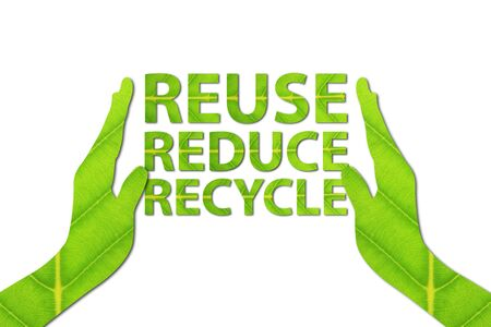 Reuse, Reduce, Recycle concept made from green leaf. Stockfoto