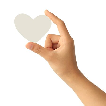 Woman hand holding blank white paper heart isolated on white background