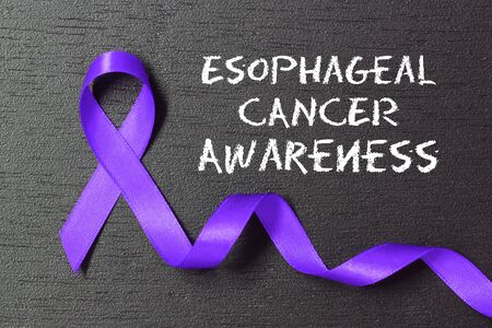 Periwinkle blue ribbon. Esophageal cancer awareness. Stock Photo