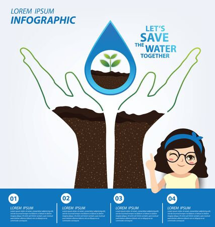 Save water concept. Infographic template. Vector illustration. Vetores