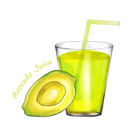 Fresh Avocado juice in a glass isolated on white background. vector illustration.