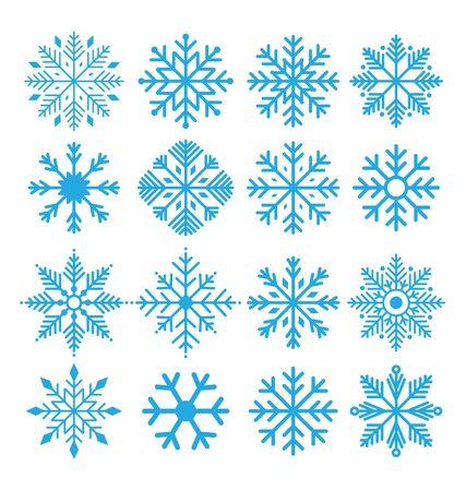 zestaw ikon płatków śniegu wektor na białym tle
