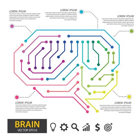 Brain with circuit board texture. Digital, technology concept. infographic template for presentation. vector illustration.