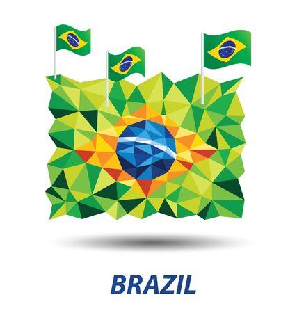 geometric abstract in Brazil flag concept Иллюстрация