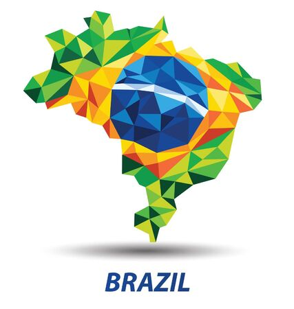 geometric abstract in Brazil map and flag concept