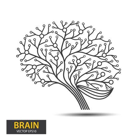Creative concept of the brain tree design. Digital Tree, technology, network, wireless, internet, communication, nature vector illustration. Иллюстрация